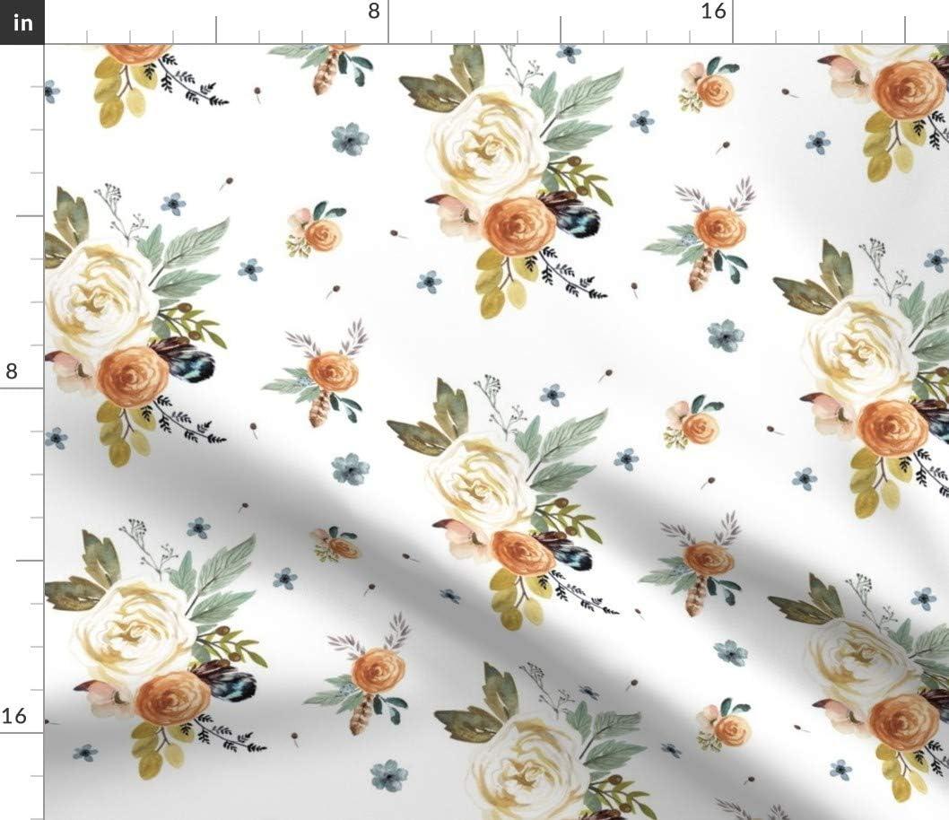Spoonflower Fabric - オーバーのアイテム取扱☆ Western Autumn Flower ※アウトレット品 White Floral Woodland