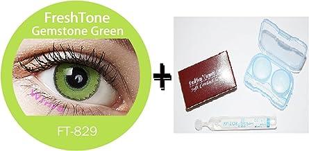 Lente de contacto de color Gemstone–Green 3tons + funda incluye .12meses sin Correction