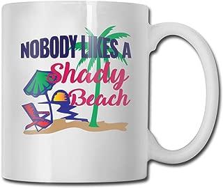 Riokk Az Nobody Likes A Shady Beach 11oz Coffee Mugs Funny Cup Tea Cup Birthday Gifts Ceramic