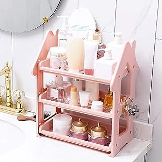 収納ボックス キッチンシェルフパンチフリーのバスルームバスルームシェルフ多階建てのキッチンスモールハウスラック洗面所トイレ収納ラックバスルームバスルームベッドルームデスクトップオーガナイザー (Color : ピンク)