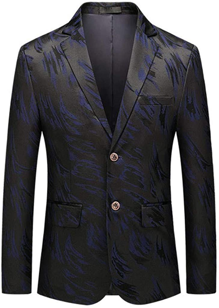 F_Gotal Mens Dress Floral Suit Slim Fit Two Buttons Luxury Stylish Casual Floral Printed Blazer Jacket Sports Coat