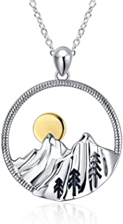 YFN Mountain Necklace Sterling Silver Mountain Pendant Necklace Nature Jewelry Gift for Skiers, Hikers, Campers, Climbers ...