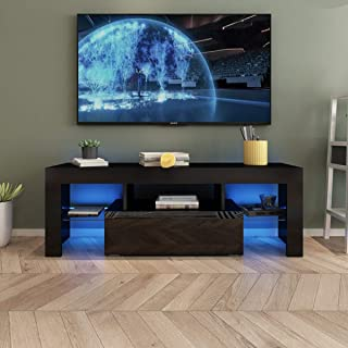 AUXSOUL Glossy LED Entertainment Stand for 55 Inch TV -...