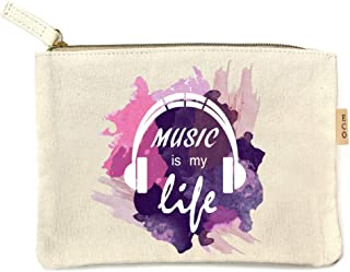 Me Plus Eco Zipper Pouch Stylish Printed, Traveler Organizer, Cosmetic Small Makeup, Students BTS Organization Bag - 22 Pattern options (Music is my llife - Multi)