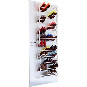 Fancy Buying 36-Pair Shoes Over The Door Rack Holder - Fold Up Non Slip Bars Shoe Rack Multifunction Combination- White