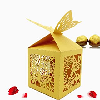 the love 50 Pcs Laser Cut Butterfly and Flower Creative Chocolate Box Wedding Favors Candy Boxes Gifts Box Marriage Party Decors (Yellow)