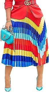 LETSVDO Women's Casual Striped Rainbow High Waisted Swing Skirt Skater Midi Skirt Plus Size
