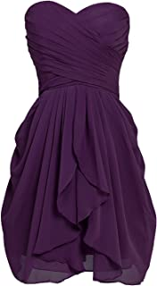 Women's Bridesmaid Dresses Short Strapless Chiffon Sweetheart Prom Gowns ARSD247