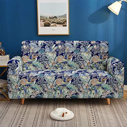 Protector de sofá con Estampado Fundas de Sofá Elasticas de 4 Plazas Poliéster Suave con Funda elástica Antideslizante Protector Cubierta de Muebles,Animales, Hojas