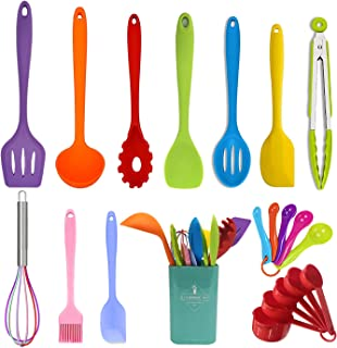 Wookon 21 Piece Silicone Kitchen Utensils Set - Cooking Utensils Set,Heat Resistant,With Stainless Steel Core,Measuring Sp...