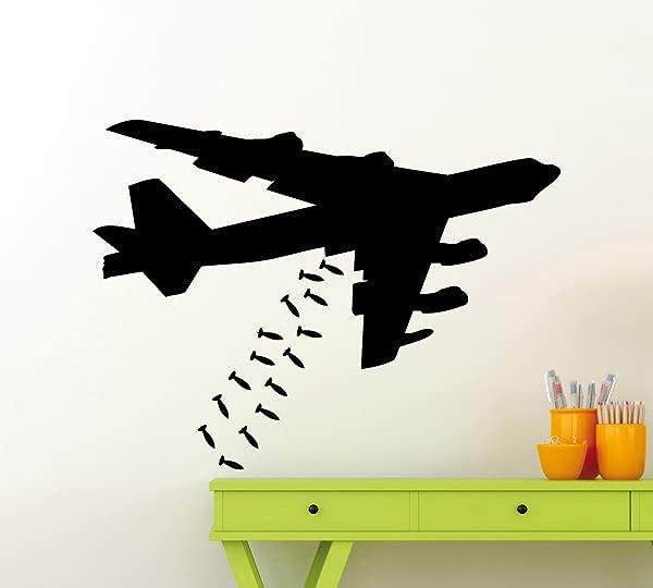 轰炸机飞机喷气式飞机战斗机墙贴花飞机轰炸机军用飞机乙烯基贴纸家用幼儿园儿童男孩女孩房间室内艺术装饰任何房间壁画防水乙烯基贴纸 201xx