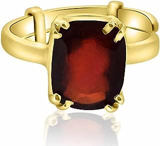 7.25-7.50 Ratti Natural & GJSPC Certified Hessonite Garnet (Gomed) Astrological Gemstone Adjustable Ashtadhatu Ring by ARIHANT GEMS & JEWELS