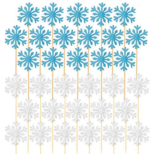 Zaleonline Schneeflocke Kuchen Topper Cupcake Picks 40 Stück Filz Tortendeko für Weihnachten Silber Blau Schneeflocke Cake Toppers Kuchendeko