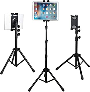 Universal Floor Stand for Cell Phones,Ipad,Tablets,E-Readers,Height Adjustable,360° Rotating,Foldable Tripod Mount Holder for 12.9-inch iPad Pro,iPad 1,2,3,4,Mini,Air,Galaxy and More 7