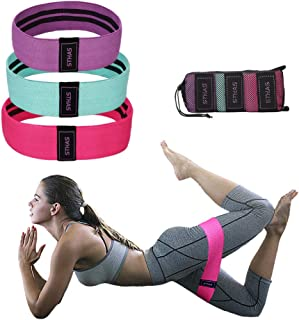 Fabric Booty Resistance Workout Bands Hip Exercise Bands for Leg and Butt Non Slip Thick Cloth Fitness Loop Circle Band for Crossfit, Yoga, Physical Therapy, and Muscle Training with Carrying Bag