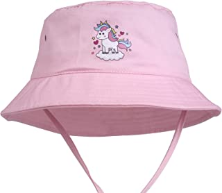 Kids Brim Wide Beach Sun Hat UPF50+,Outdoor Play Cap with Adjustable Neck Strap, 100% Cotton Breathable Bucket Hat for Girls.(Pink)