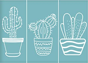 Crafts DIY Home Decor Rock Art Projects Painting Furniture 15x15cm CODOHI Cactus Stencils 5 Packs Cacti Reusable Mylar Template for Journaling Wall Cookie Baking