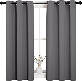 NICETOWN Grey Blackout Curtain Panels for Bedroom, Thermal Insulated Grommet Top Blackout Draperies and Drapes for Basemen...
