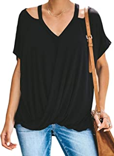 Sidefeel Women V Neck Short Sleeve Cut Out Drape T-Shirt Knot Front Casual Top