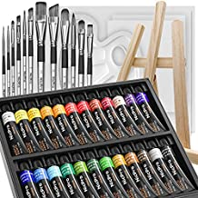 Nicpro Beginner Acrylic Paint Set, 24 Rich Pigment Colors (12ml) 12 Brushes, Wooden Easel, 4 Pack Canvas Panel, Paint Tray, Color Wheel, Painting Art Supplies for Artist Adult, Student & Kid