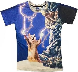 (ワイボーイジャパン)Wiboyjp メンズtシャツ 猫 ネコ 3d ヒップホップ 稲光 猫柄 トレンド クモ 雲 スウェット t shirt 3dtシャツ 半袖tシャツ