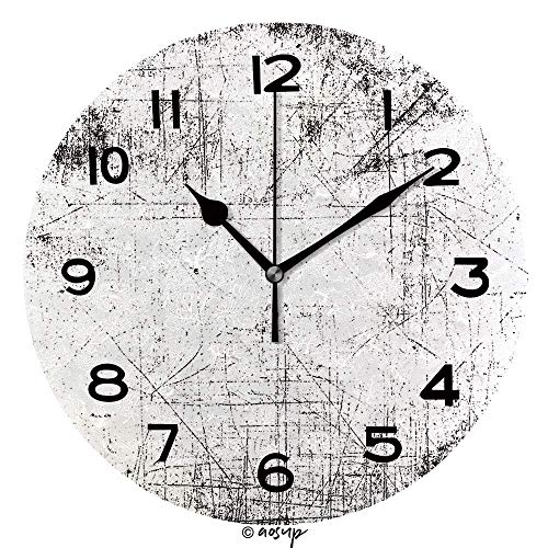"Zseeda 25cm (9.8"") Redondo Reloj de Pared Silencioso No Tick Tack Ruido Reloj de Pared Distressed Overlay aus verrostetem geschältem Metall"