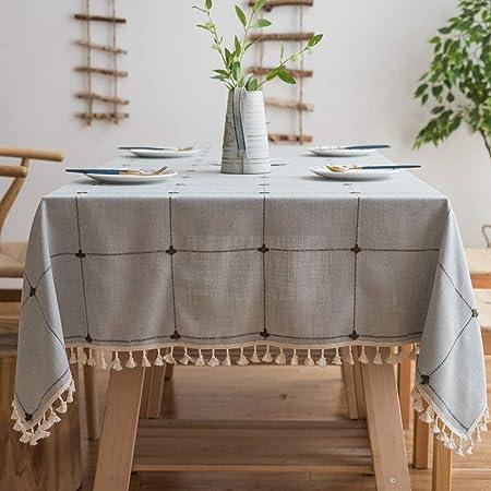 Nappe Protection de Table en Tissu Coton et Lin Imperm/éable pour Table /à Manger Topmail Nappe de Table Rectangulaire Anti-Taches avec Franges Carreau Bleu Clair 135x220cm