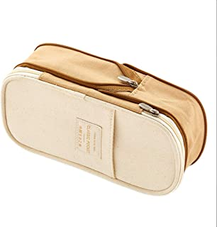 Large Capacity Pencil Case for Boys and Girls Pencil Case Macaron Color Canvas Stretch Double Layer Large Capacity Pencil Box Pencilcase Kids School Stationery (Color : Beige)