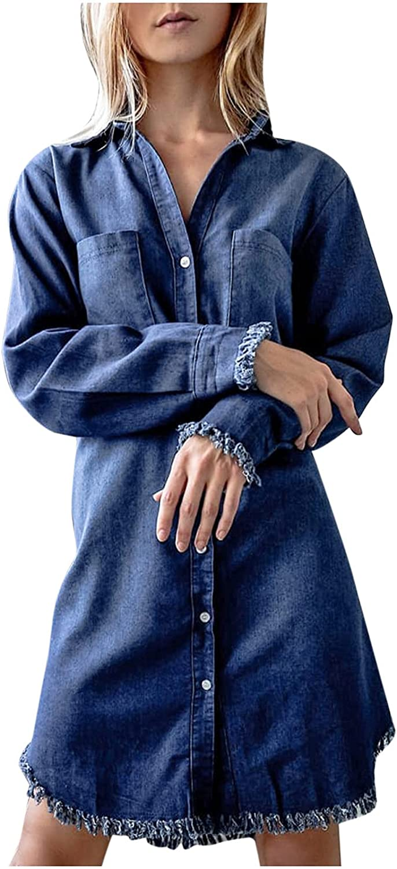 Womens Denim Shirt Dress Lapel Long Sleeves Dress Single Breasted Plain Jean Dresses Blue Cardigan Dress Button Blouse Dress