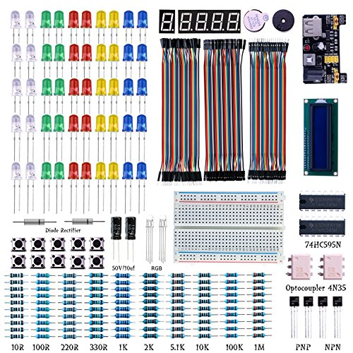 Electronics Components Supplies Super kit, Starter Electronic Kit for Arduino UNO, Raspberry Pi [led, Dupont line, breadboard, LCD 1602. etc]