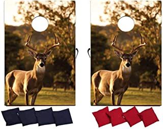 Image of VictoryStore Cornhole Games - Hunting Buck Cornhole Game - Deer Bag Toss Game - 8 Bags Included - Wooden Boards