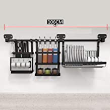 Black Wall-Mounted Kitchen Racks - 304 Stainless Steel Dish - Spice Rack - with 100cm Rod for Kitchen, Storage