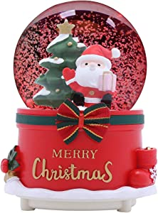 XXMANX 80 MM Christmas Snow Globe with 8 Music and 4 Color Lights Santa Music Box Home Decoration for Girls Boys Kids Granddaughters Babies Birthday Gift, Musical, Resin/Glass (Manual Snow Drift)