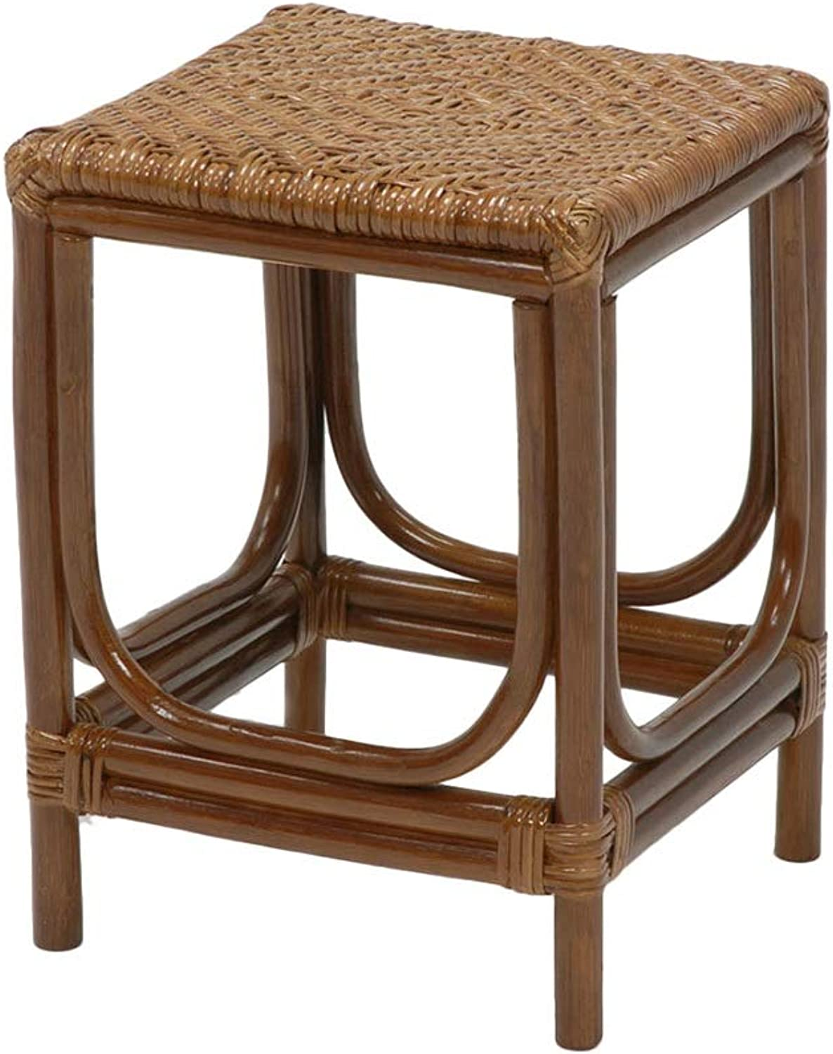 AGLZWY Rattan Stool Multipurpose Hand Weaving Cozy Breathable Strong Bearing Capacity Home Square Stool Footstool, Brown (color   Brown, Size   33X33X45CM)