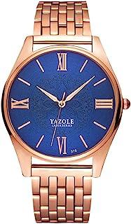 Songlin@yuan 376 Men's Fashion Business Steel Belt Quartz Watch Fashion (Color : Blue)