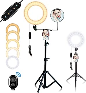 "10"" Selfie Ring Light with Stand ,Dimmable Ring Light for Personal Makeup, Portrait Photography, Live Lerformance, Video Chat, YouTube Video Shooting ,Compatible with iPhone Android"