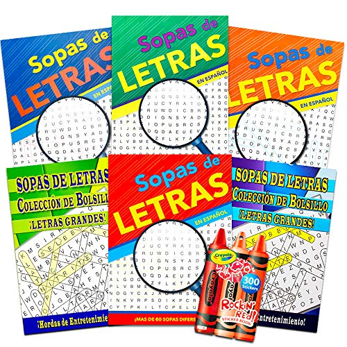 Spanish Word Find Puzzle Books for Adults Seniors -- Set of 6 Word Search Books (Over 390 Puzzles Total) ~ Libros de Búsqueda de Palabras y Crucigramas Para Adultos