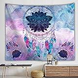 Tapiz Pared Atrapasueños Multi Colores,Tapiz Mandala Tela para Tapizar Decoracion Habitacion Dormitorio,Tapices de Pared de Plumas Cortinas Boho,230x150 cm