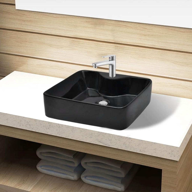 Festnight Ceramic Basin Square Wash Hand Sink with Faucet Hole for Bathroom Kitchen - Black Ceramic, 48x37x13.5 cm