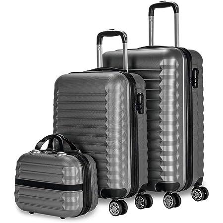 FERG/É Set 3 valises Rigide l/éger Une /étiquette de Bagage Marseille Ensemble de Bagage Trolley 4 roulettes pivotantes Bleu