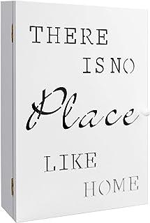 Boîte à clés 'No Place Like Home' avec 6 crochets pour clés, boîte en bois blanche, 22x7x32cm, armoire à clés