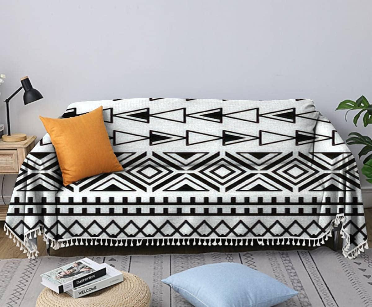 Sofa Towel Ethnic Boho Price reduction Tribal Indian and Houston Mall Pattern Seamless Black