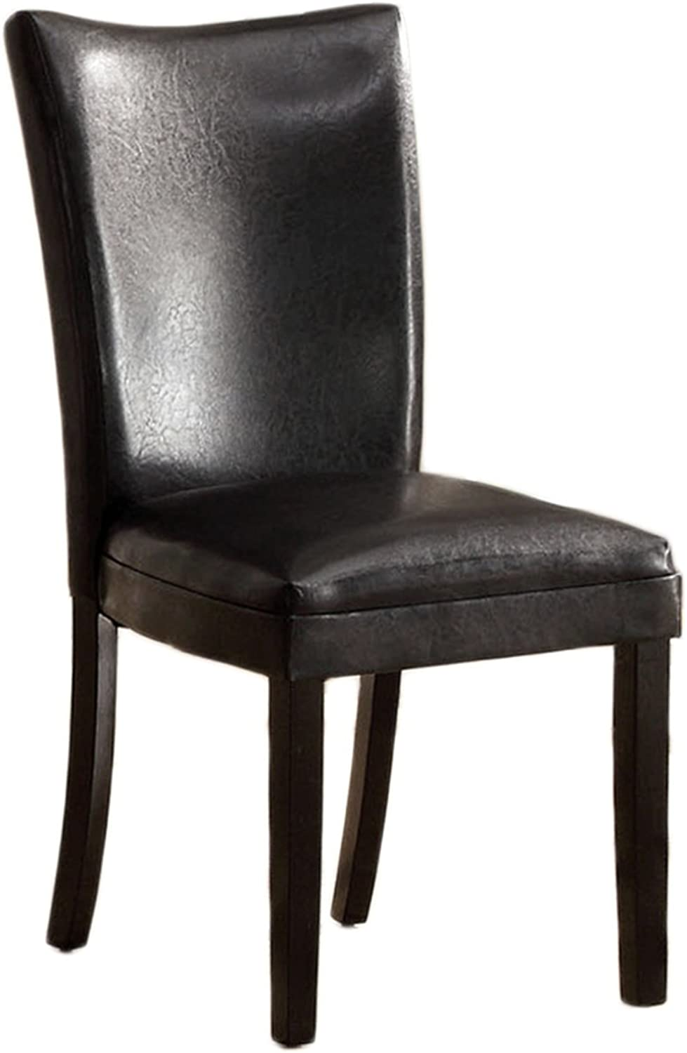 Furniture of America Jacob Parson Style Leatherette Dining Side Chair, Black
