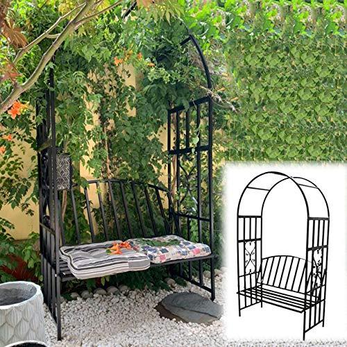 ZH-1 Sitzlaube Garten Nordisch Metall Laubenbank Gartenbank für 2 Personen, Rankhilfe Rosenbogen mit Bank für Kletterpflanzen Rosen Ranken,...