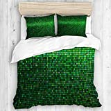 AXEDENRRT King 3 Pieces Unique Printed Polyester with 2 Pillowcases Theme Digital Grid Print Green,Abstract Vibrant Square Pixel Mosaic Design Geometric Technology Duvet Covers Bedding Sets