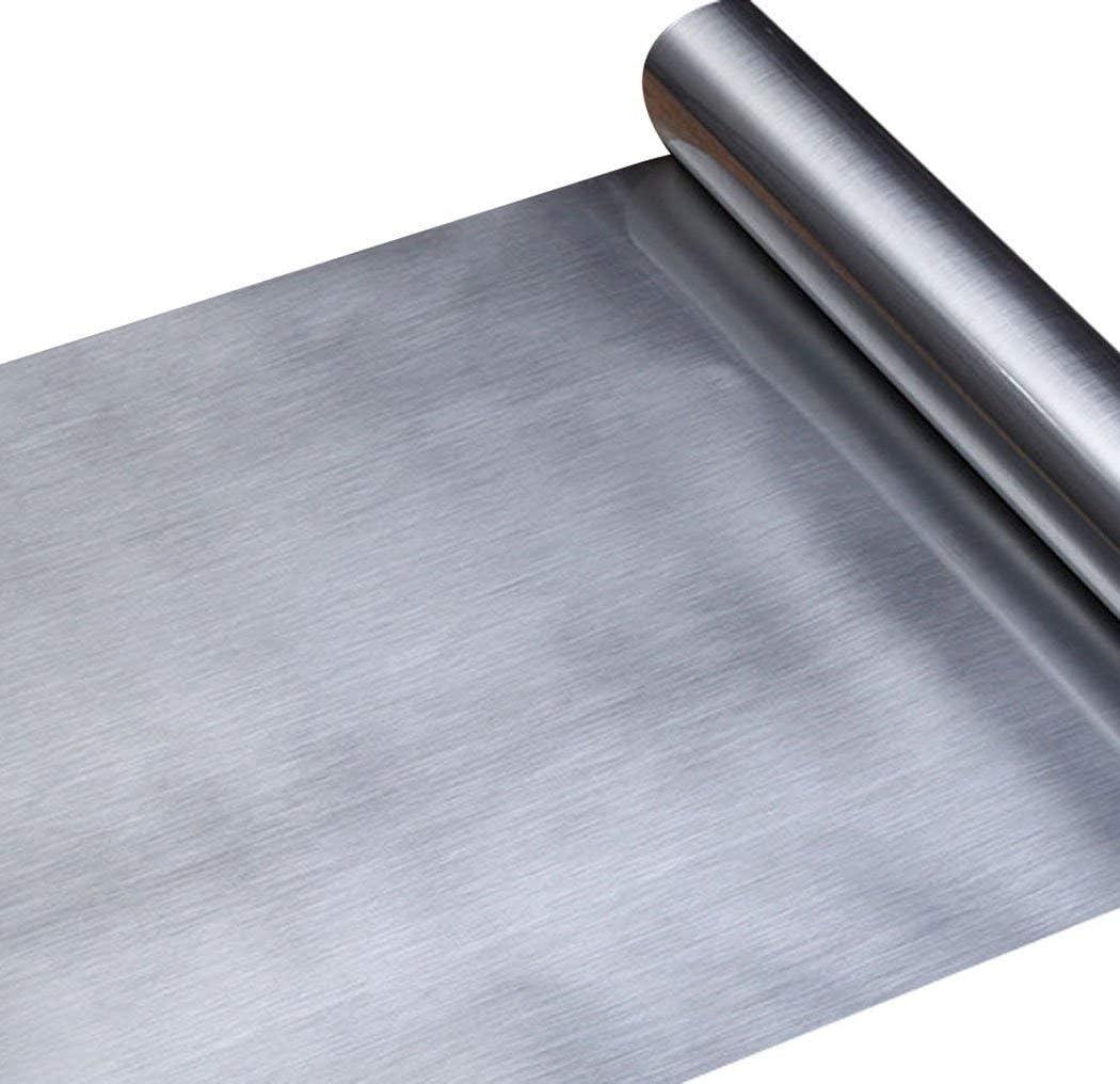 Papel adhesivo de aspecto de metal plateado de acero inoxidable cepillado para colocar en el estante o en el cajón, para lavaplatos, electrodomésticos, frigoríficos, lavaplatos 30 x 150cm