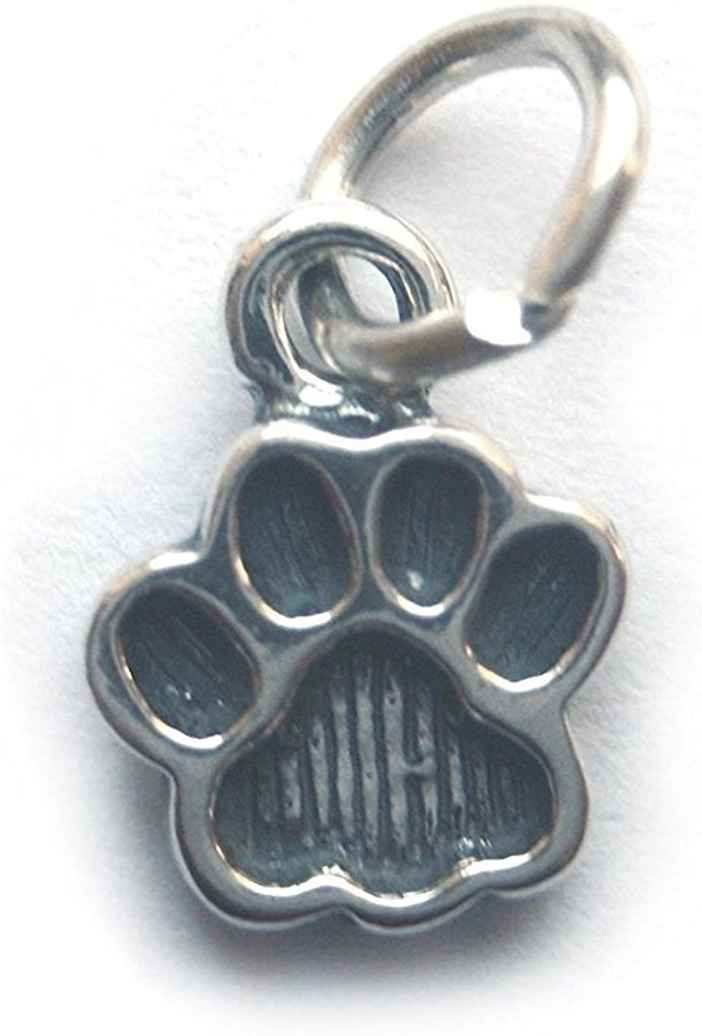 6 Qty. Small Paw Print Charm (11x9mm) .925 Sterling Silver by JensFindings