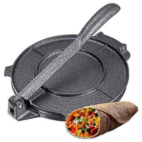 Tortilla Presse, 20 Cm Taco Presse Aus Aluminiumlegierung Antihaft Faltbar Mit Ergonomischem Drehgriff Für Tortillas,Tacos,Burritos,Pizza Und Teig (Grau)