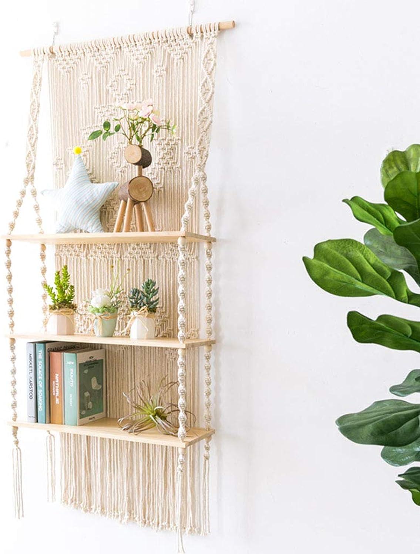Handmade Tapestry Wooden Shelf,Nordic Simple Wall-Mounted Wooden Shelf Rack Shelves Organizer Home Decoration for bar Books Plants Kitchen,70  140cm