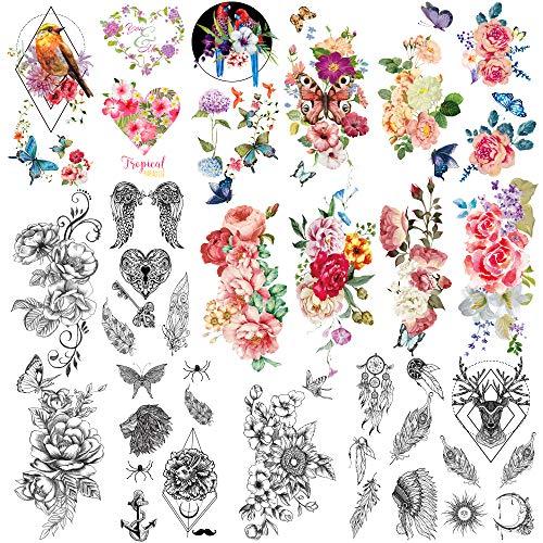 41 Piezas/lote Moda Tatuajes temporales Impermeables para hombres Mujeres Flores adultas Palabras Pegatinas y expresiones Arte corporal Tatuajes sexy Papel.